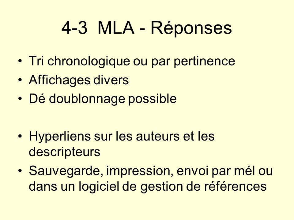4-3 MLA - Réponses Tri chronologique ou par pertinence