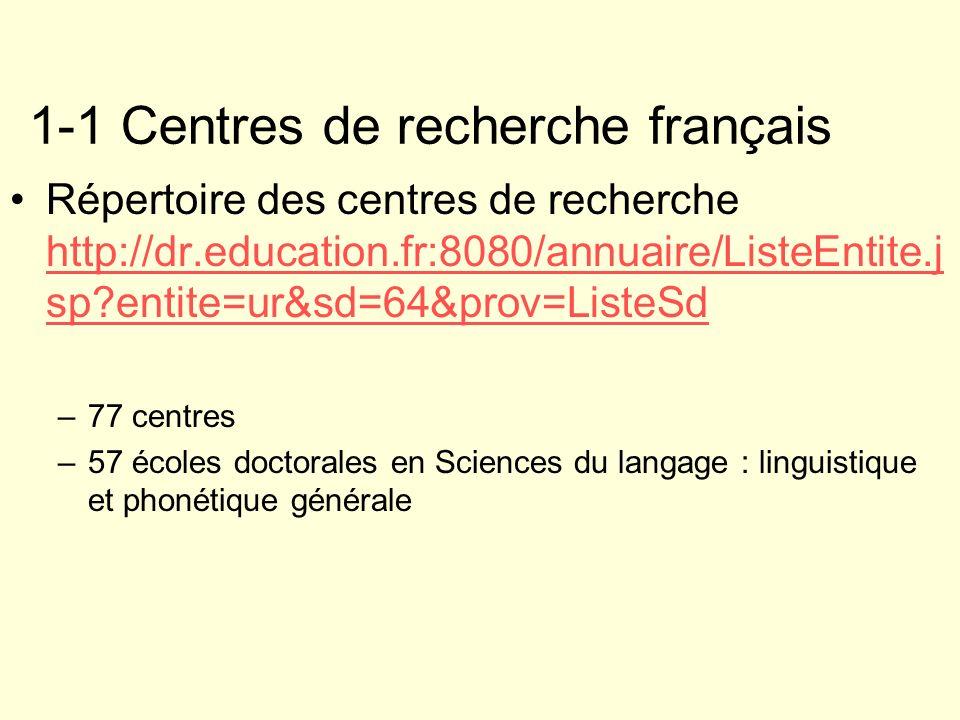 1-1 Centres de recherche français