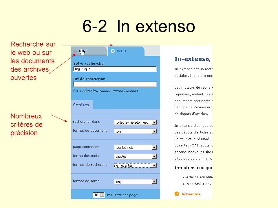 6-2 In extenso Recherche sur le web ou sur les documents des archives ouvertes.