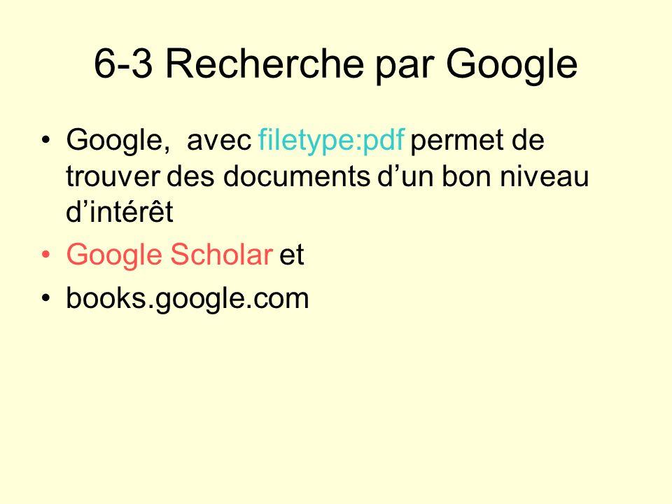 6-3 Recherche par Google Google, avec filetype:pdf permet de trouver des documents d'un bon niveau d'intérêt.