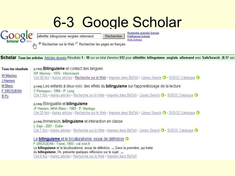 6-3 Google ScholarRecherche bilinguisme en recherche avancée sauf anglais ou allemand dans le titre des pages.