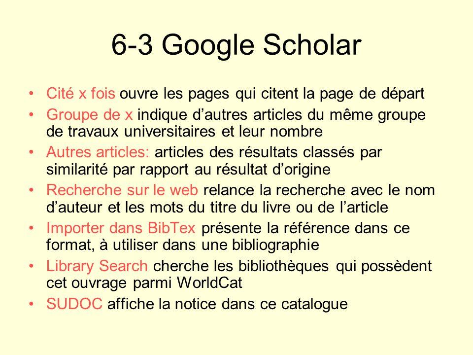 6-3 Google Scholar Cité x fois ouvre les pages qui citent la page de départ.