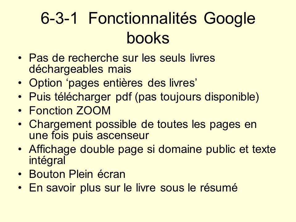 6-3-1 Fonctionnalités Google books