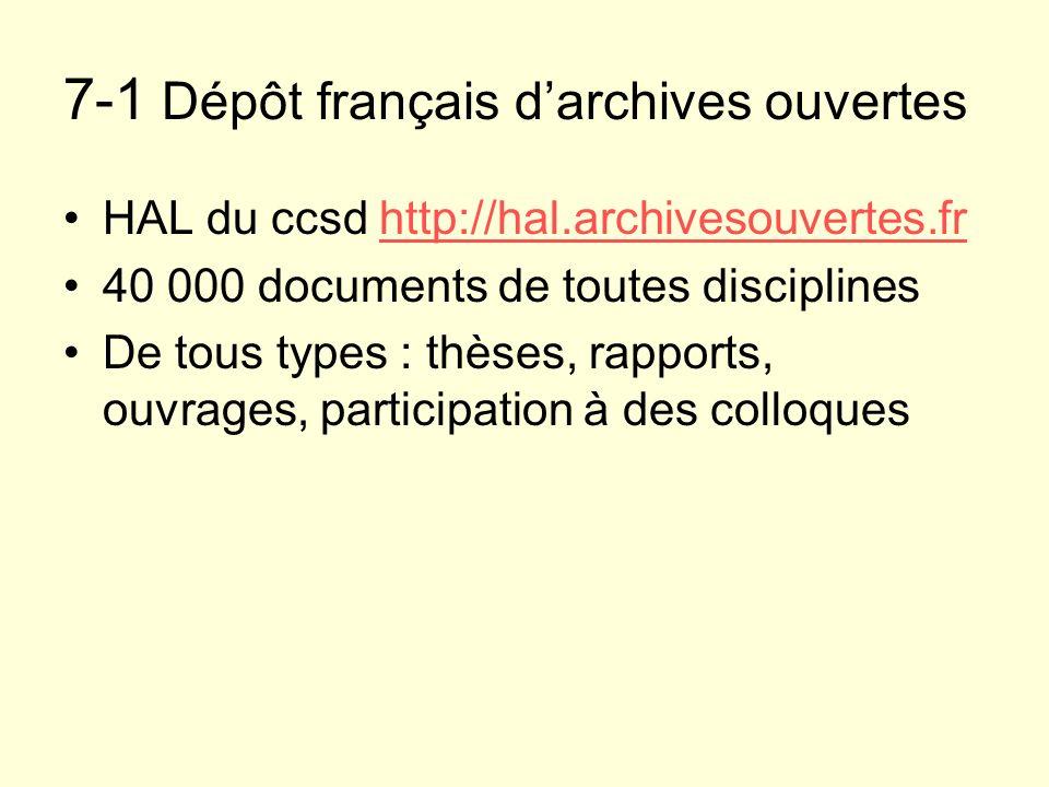 7-1 Dépôt français d'archives ouvertes