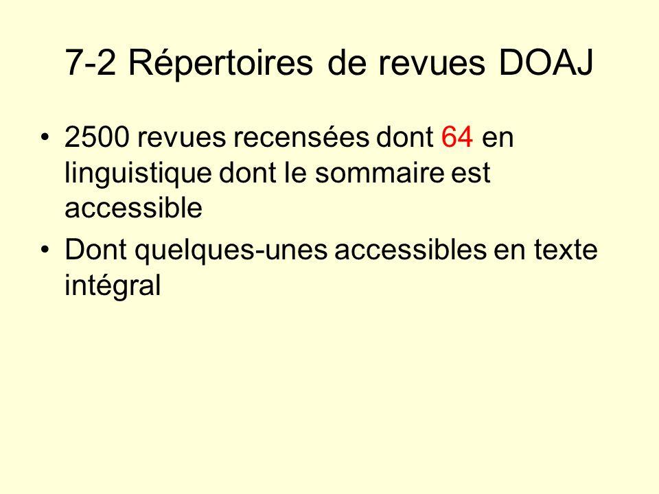 7-2 Répertoires de revues DOAJ