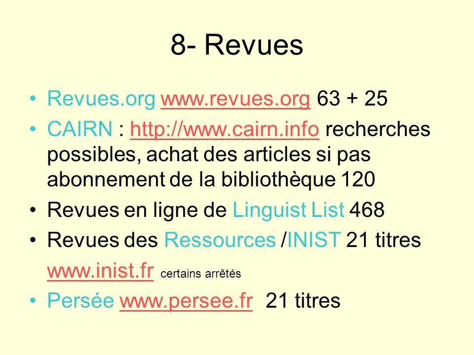 8- Revues Revues.org www.revues.org 63 + 25