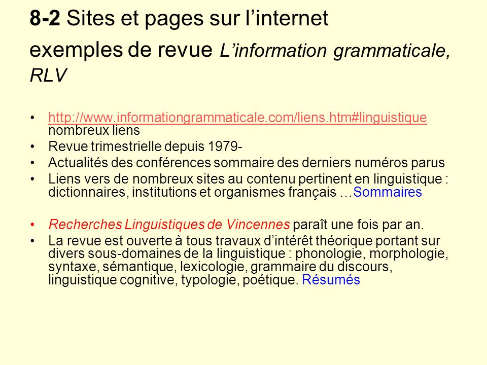 8-2 Sites et pages sur l'internet exemples de revue L'information grammaticale, RLV