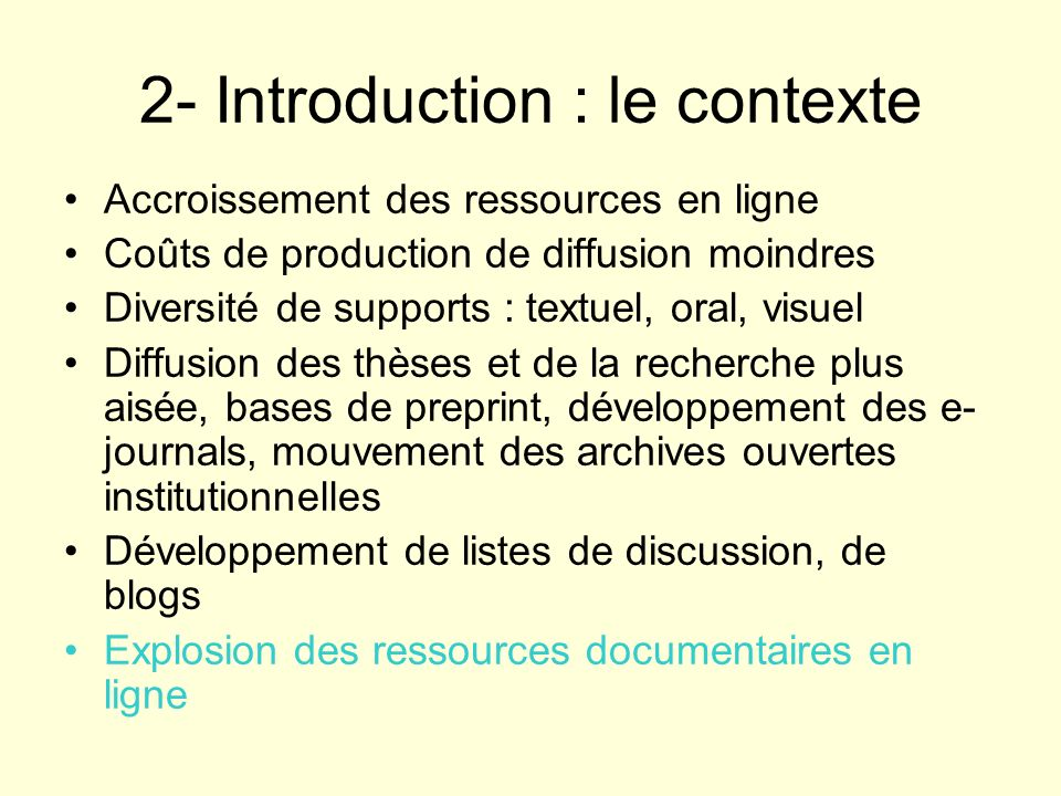 2- Introduction : le contexte