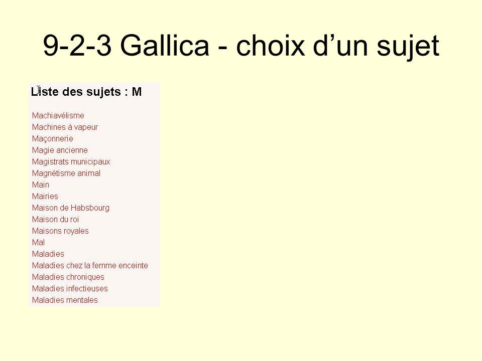 9-2-3 Gallica - choix d'un sujet