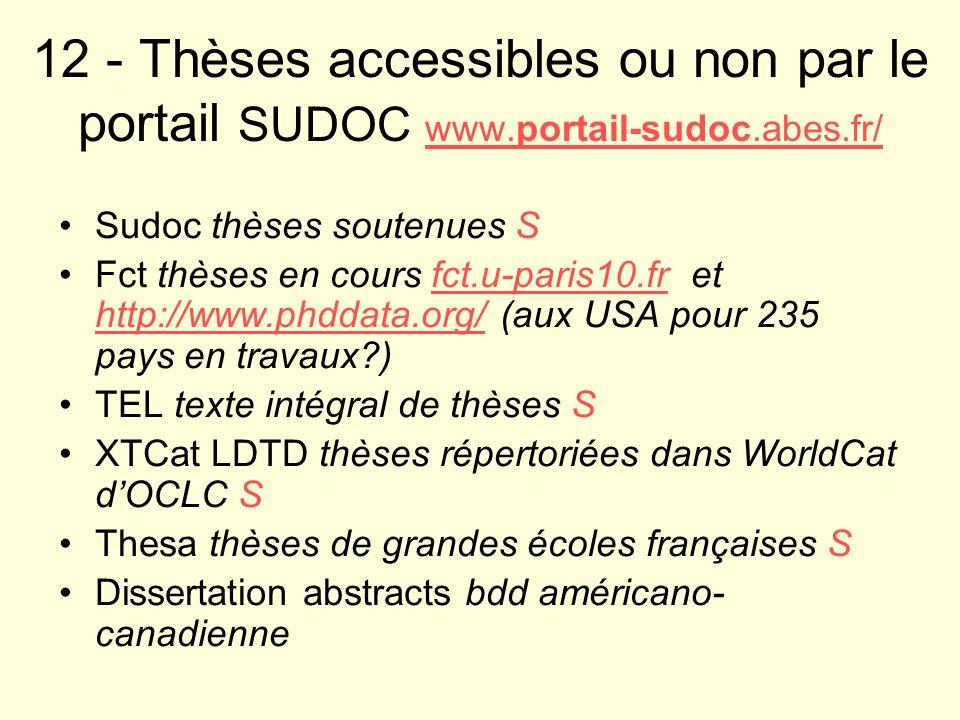 12 - Thèses accessibles ou non par le portail SUDOC www. portail-sudoc