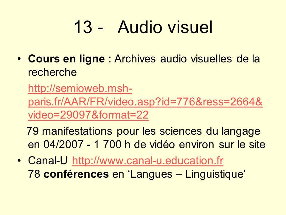 13 - Audio visuelCours en ligne : Archives audio visuelles de la recherche.