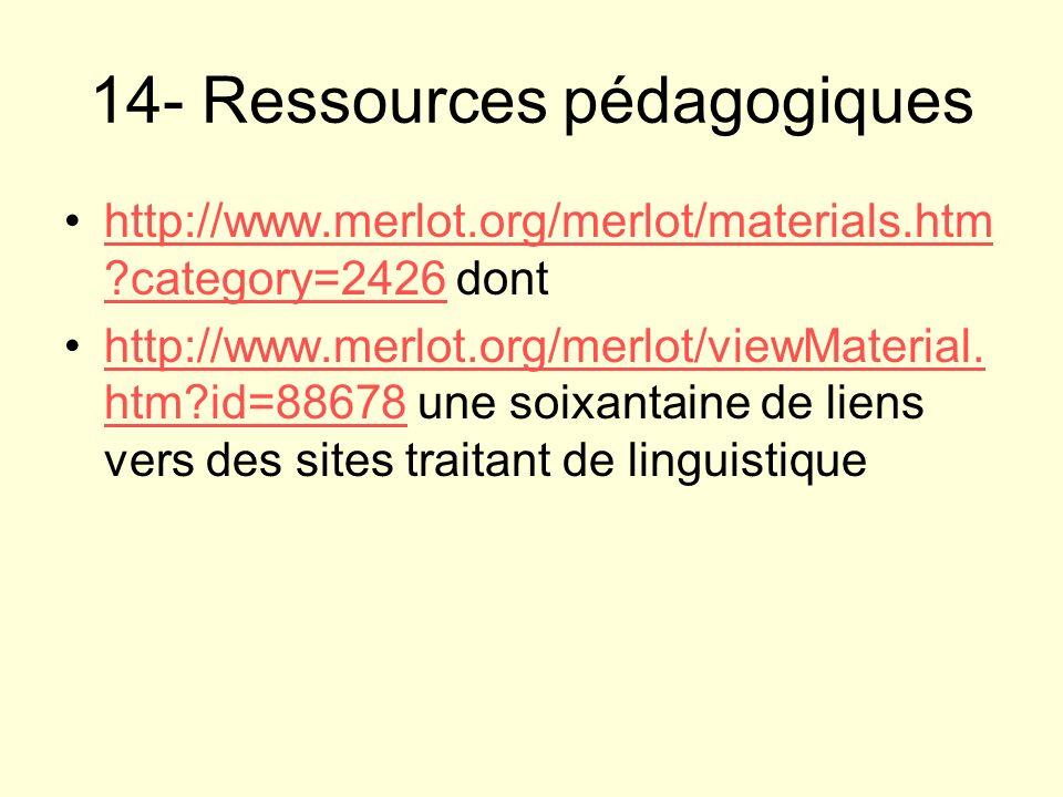 14- Ressources pédagogiques