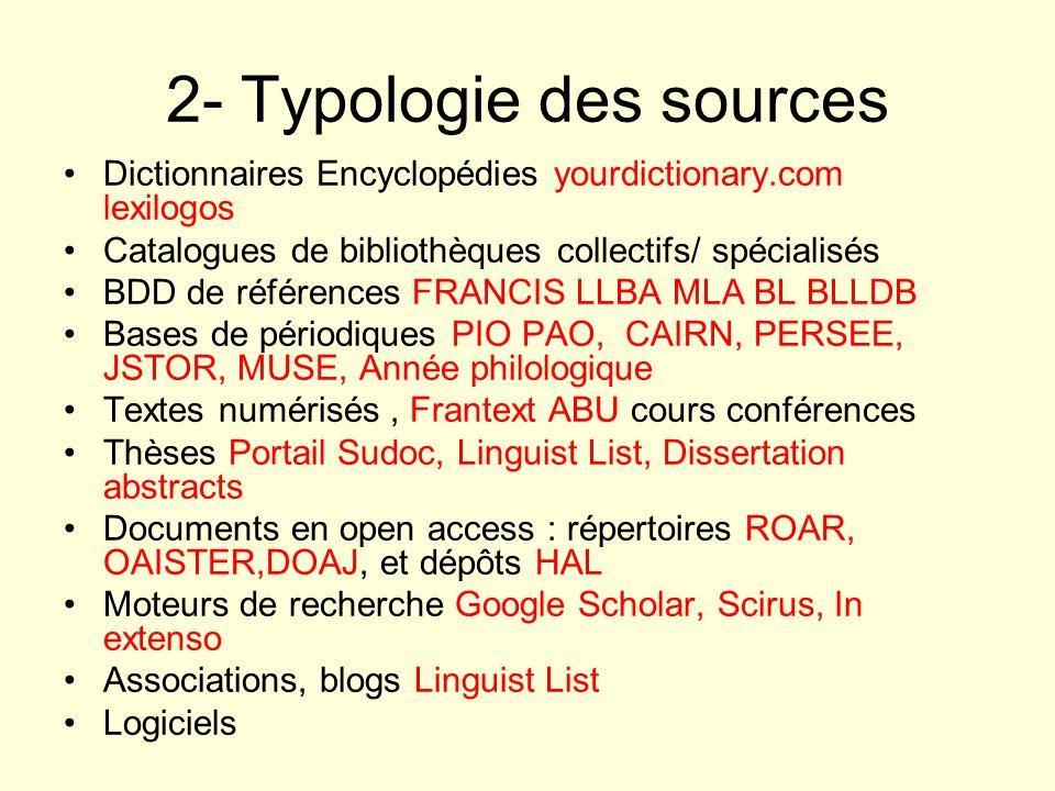 2- Typologie des sources