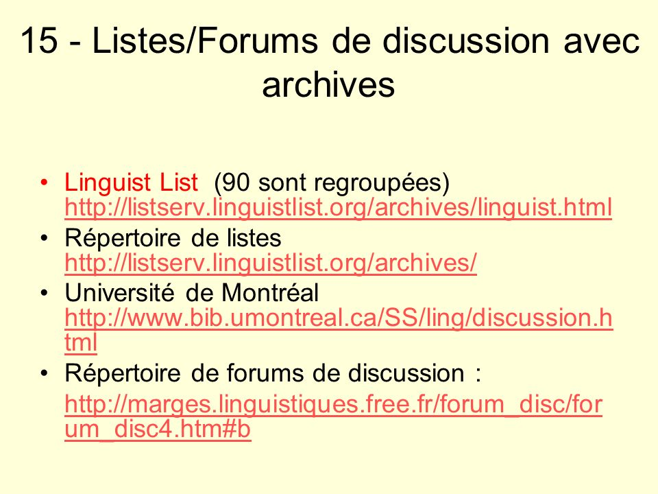 15 - Listes/Forums de discussion avec archives