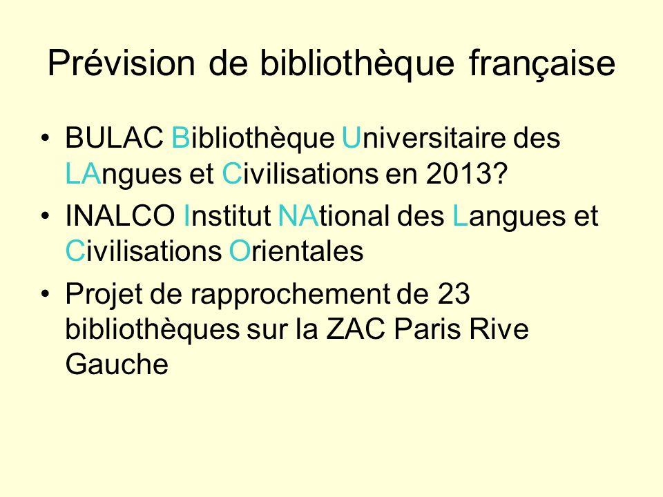 Prévision de bibliothèque française
