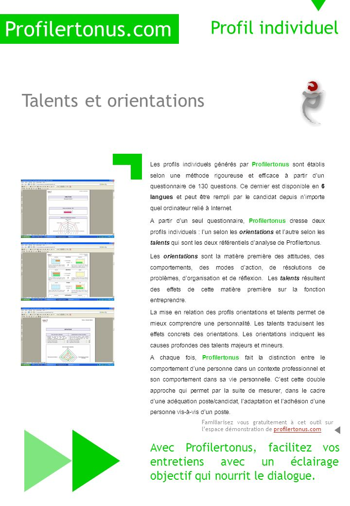 Profilertonus.com Profil individuel Talents et orientations