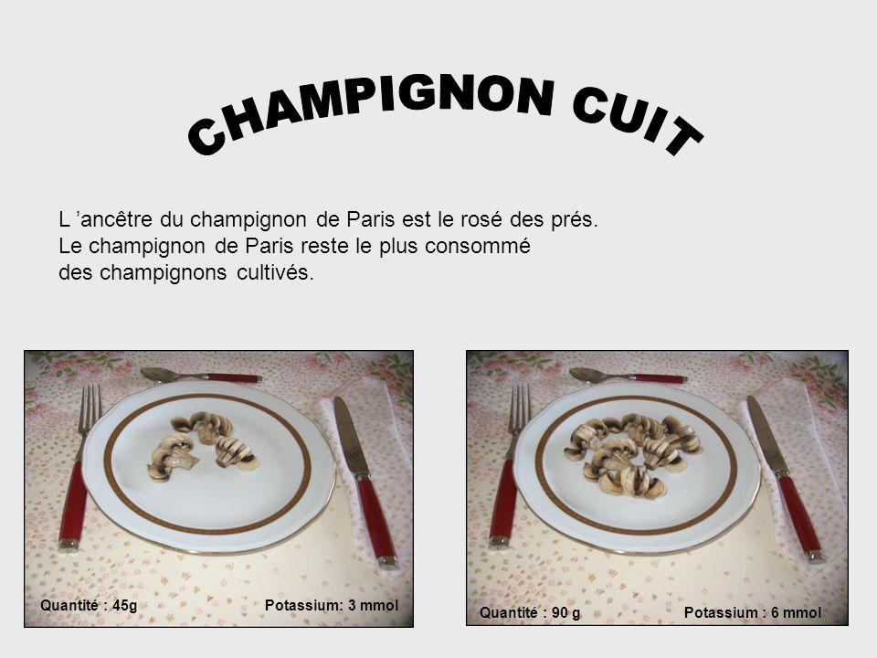 CHAMPIGNON CUIT L 'ancêtre du champignon de Paris est le rosé des prés. Le champignon de Paris reste le plus consommé.