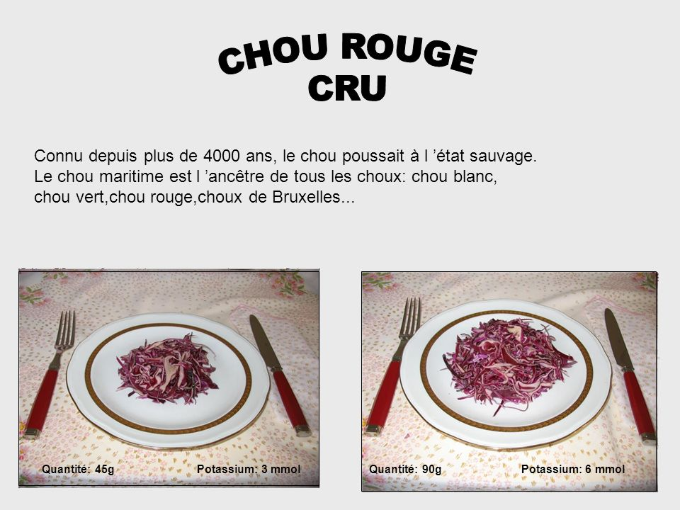 CHOU ROUGE CRU. Connu depuis plus de 4000 ans, le chou poussait à l 'état sauvage. Le chou maritime est l 'ancêtre de tous les choux: chou blanc,
