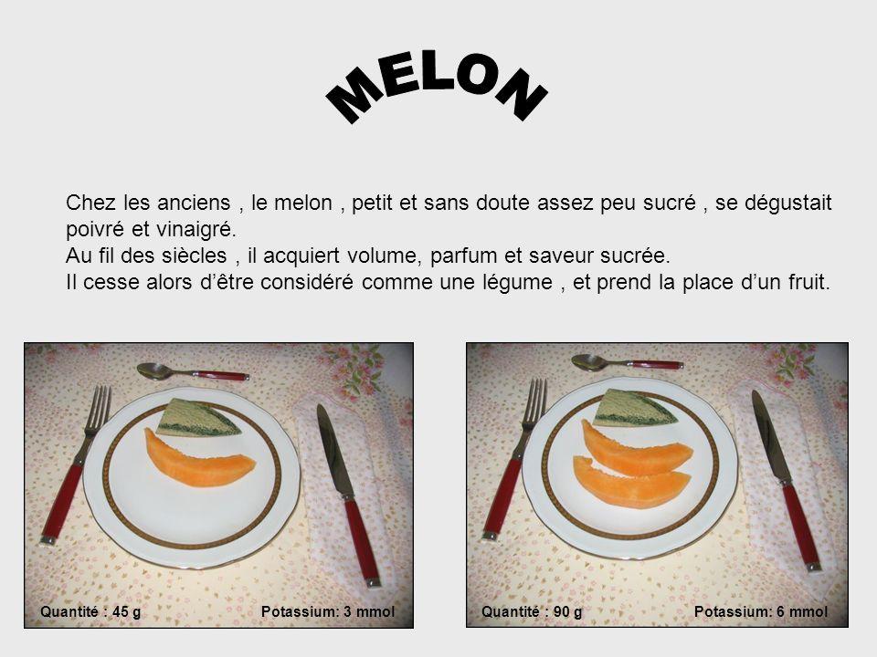 MELONChez les anciens , le melon , petit et sans doute assez peu sucré , se dégustait. poivré et vinaigré.