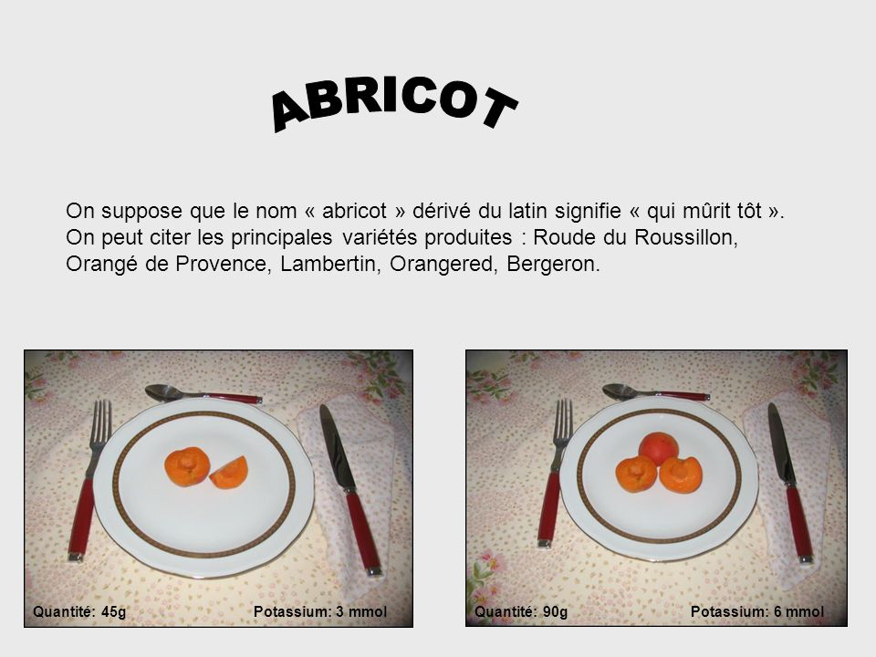 ABRICOT On suppose que le nom « abricot » dérivé du latin signifie « qui mûrit tôt ».