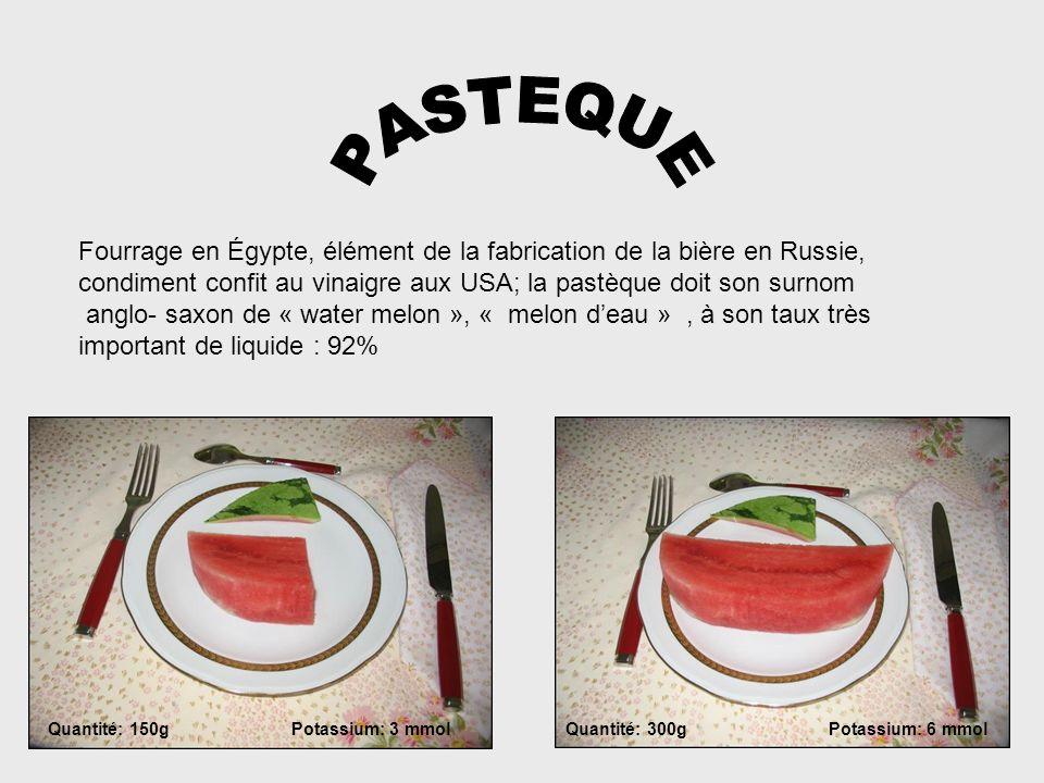 PASTEQUEFourrage en Égypte, élément de la fabrication de la bière en Russie, condiment confit au vinaigre aux USA; la pastèque doit son surnom.