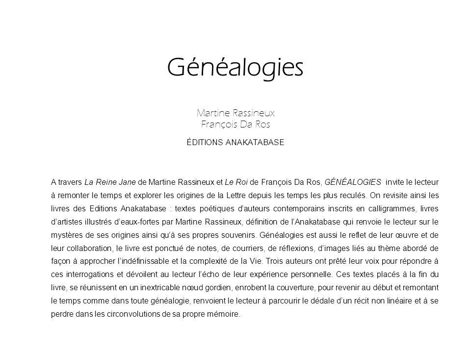 Généalogies Martine Rassineux François Da Ros ÉDITIONS ANAKATABASE