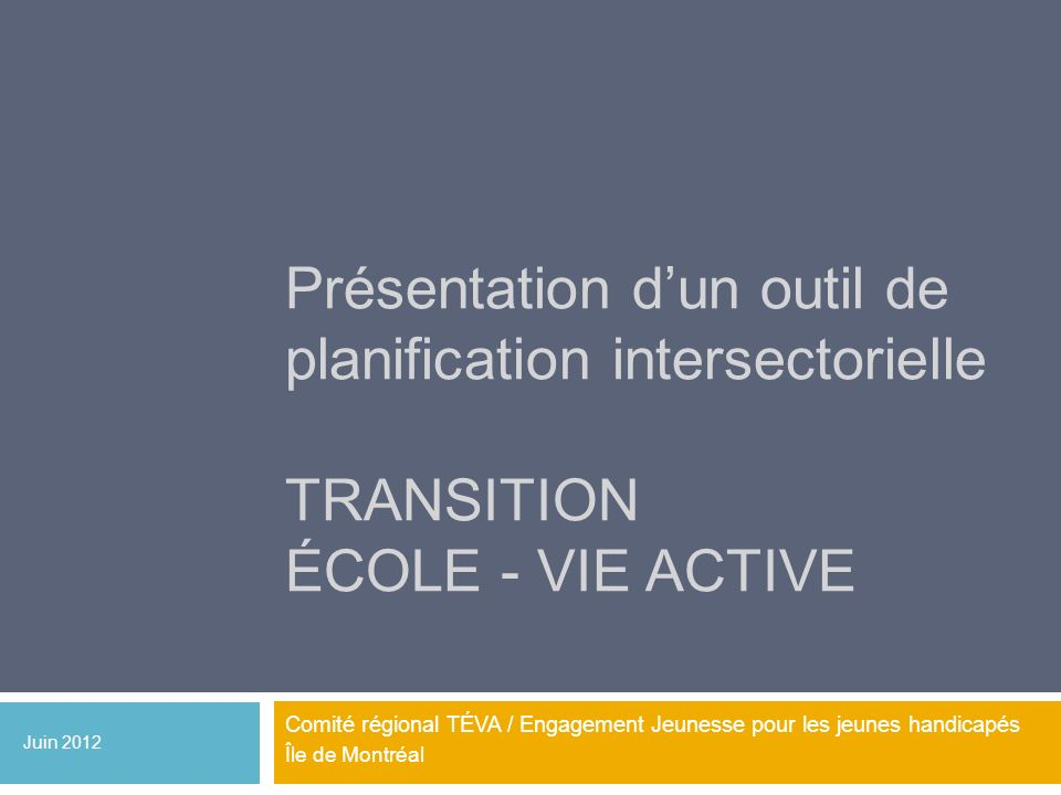 Présentation d'un outil de planification intersectorielle Transition école - vie active