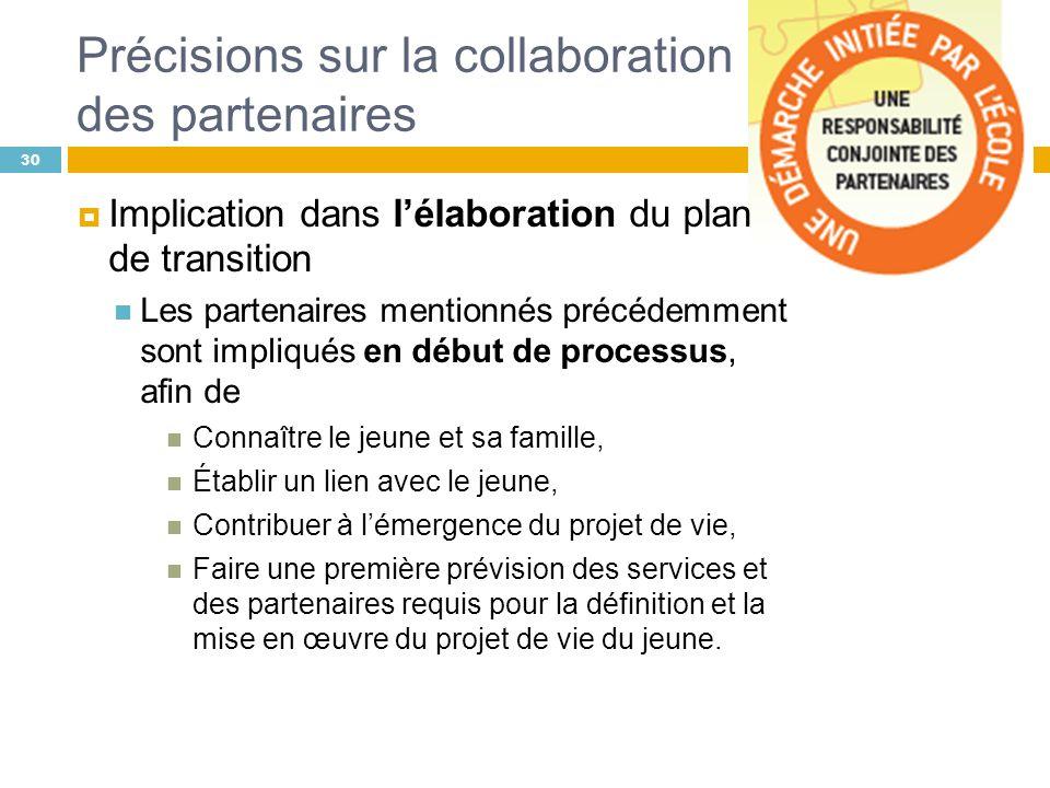 Précisions sur la collaboration des partenaires