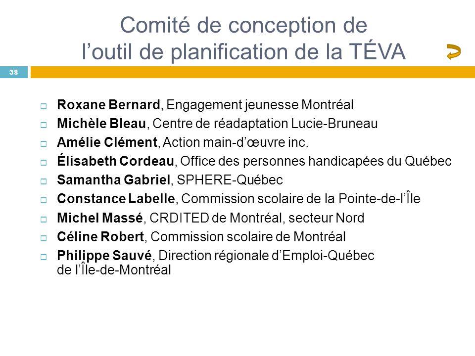 Comité de conception de l'outil de planification de la TÉVA