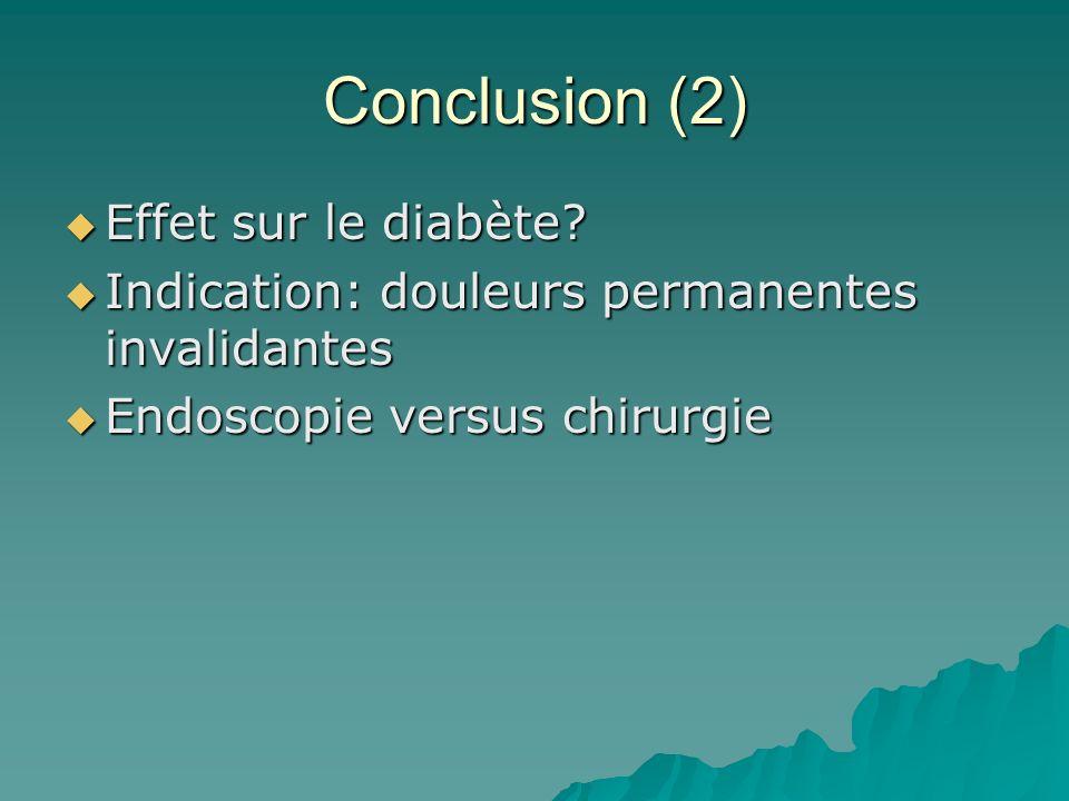 Conclusion (2) Effet sur le diabète