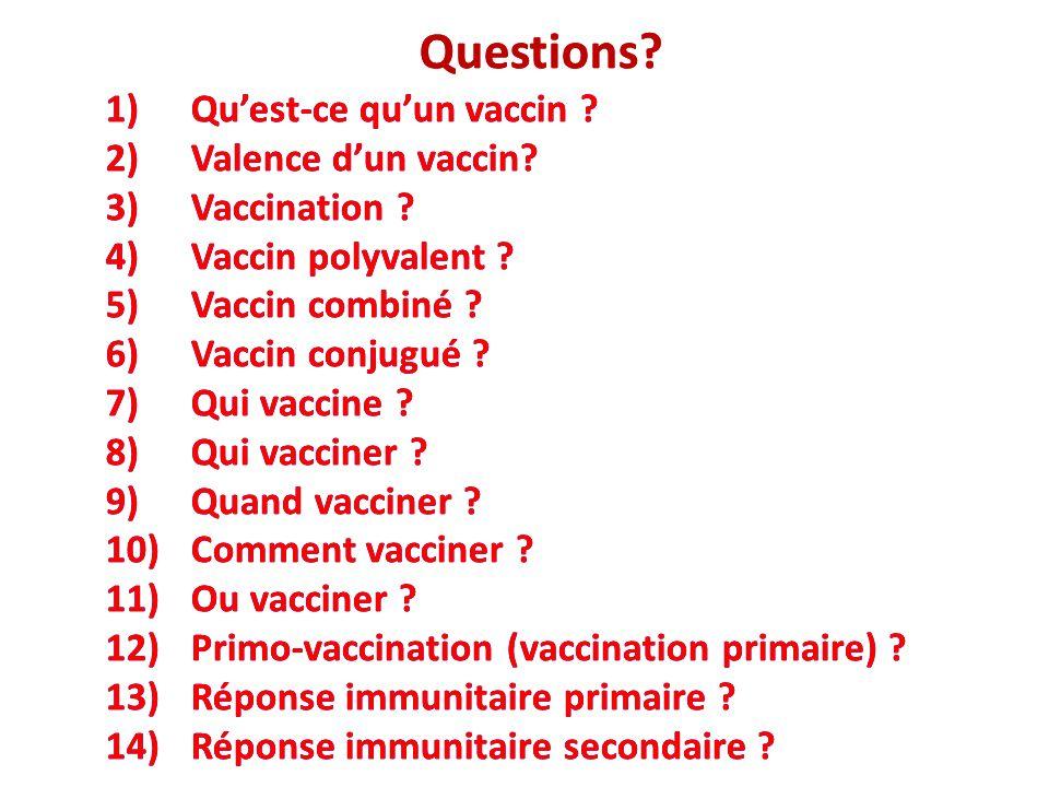 Questions Questions Qu'est-ce qu'un vaccin Valence d'un vaccin