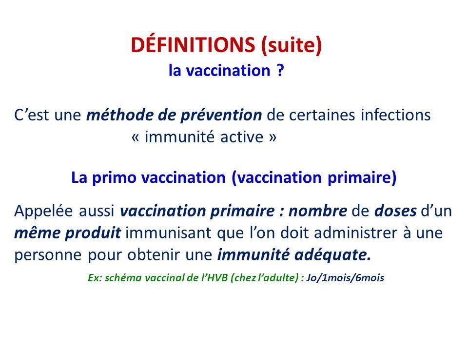 DÉFINITIONS (suite) la vaccination