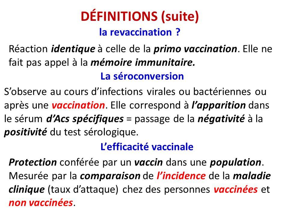 DÉFINITIONS (suite) la revaccination