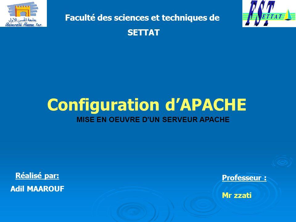 Faculté des sciences et techniques de Configuration d'APACHE
