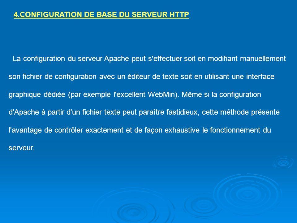 4.CONFIGURATION DE BASE DU SERVEUR HTTP