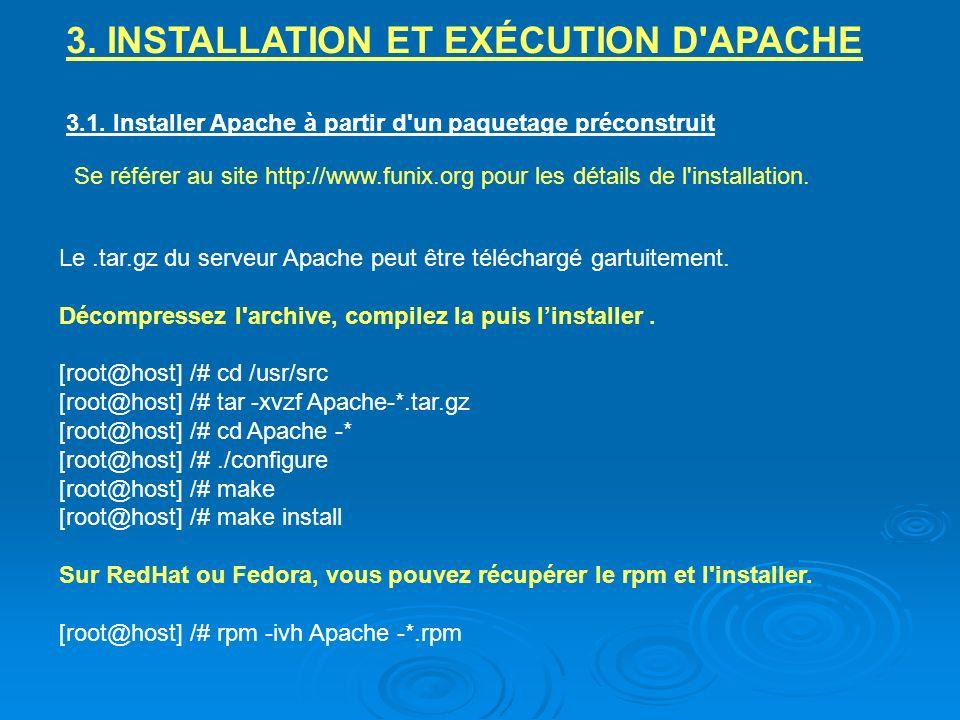 3. INSTALLATION ET EXÉCUTION D APACHE