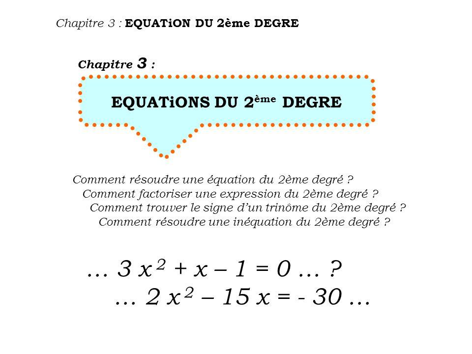 Chapitre 3 : EQUATiON DU 2ème DEGRE