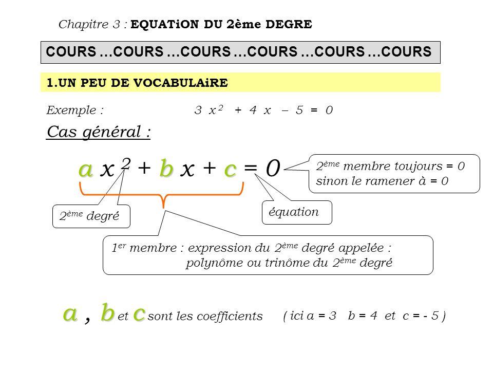 a , b et c sont les coefficients