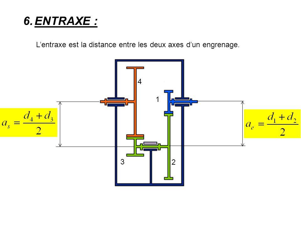 ENTRAXE : L'entraxe est la distance entre les deux axes d'un engrenage. 4 1 3 2