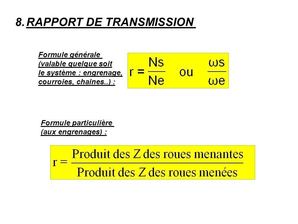 RAPPORT DE TRANSMISSION