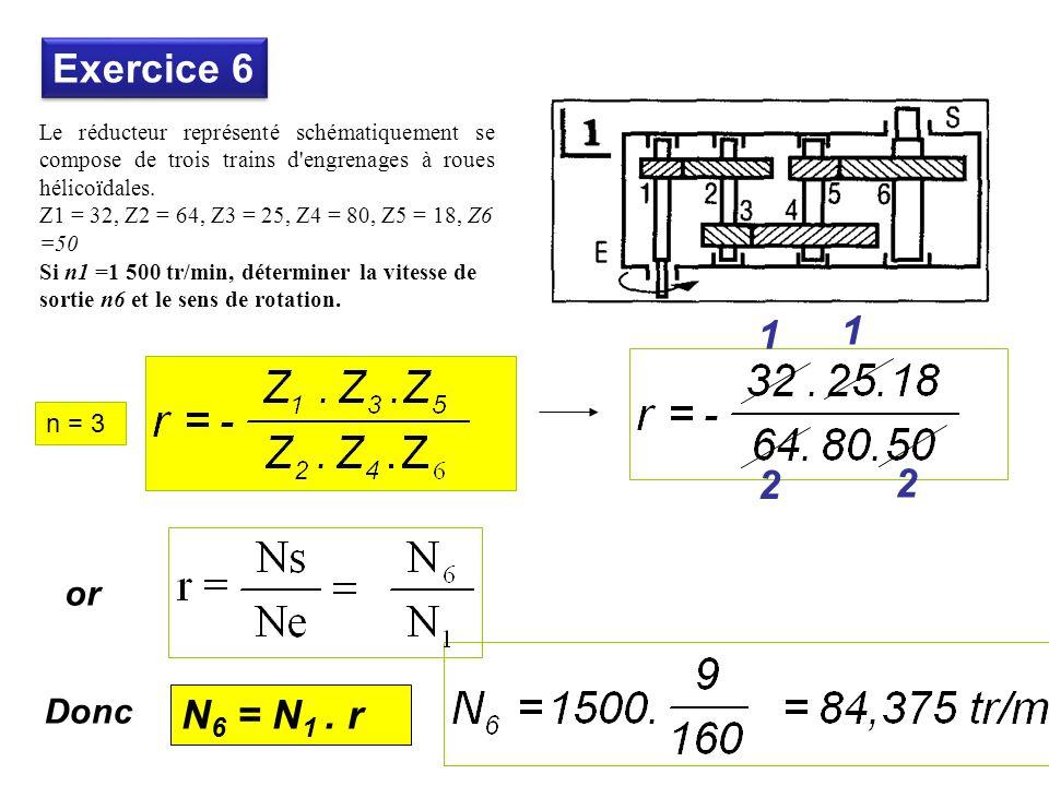 Exercice 6 1 1 2 2 N6 = N1 . r or Donc n = 3