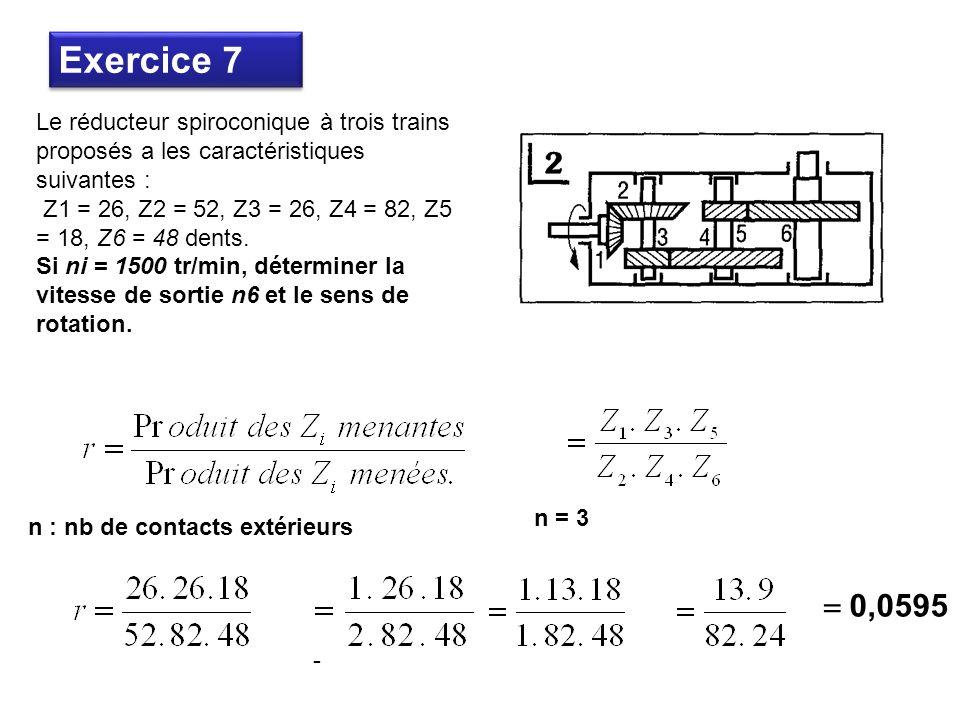 Exercice 7 Le réducteur spiroconique à trois trains proposés a les caractéristiques suivantes :