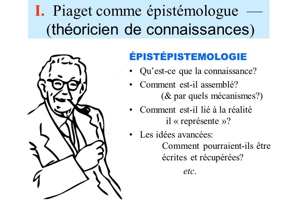 I. Piaget comme épistémologue — (théoricien de connaissances)