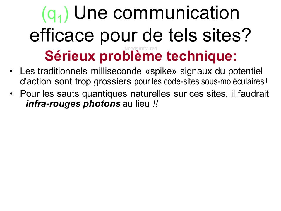 (q1) Une communication efficace pour de tels sites Needs infra-red
