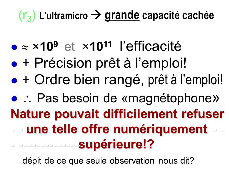 (r3) L'ultramicro  grande capacité cachée ●  ×109 et ×1011 l'efficacité ● + Précision prêt à l'emploi.