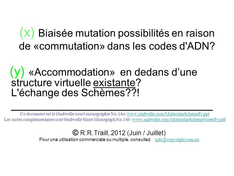 (x) Biaisée mutation possibilités en raison de «commutation» dans les codes d ADN