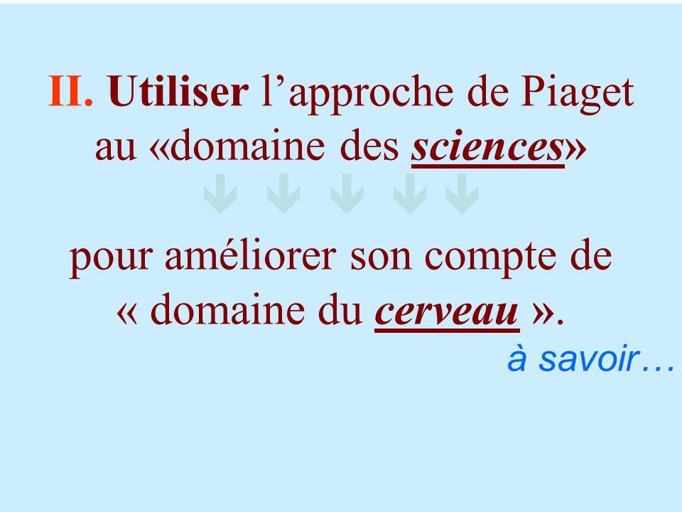 II. Utiliser l'approche de Piaget au «domaine des sciences»