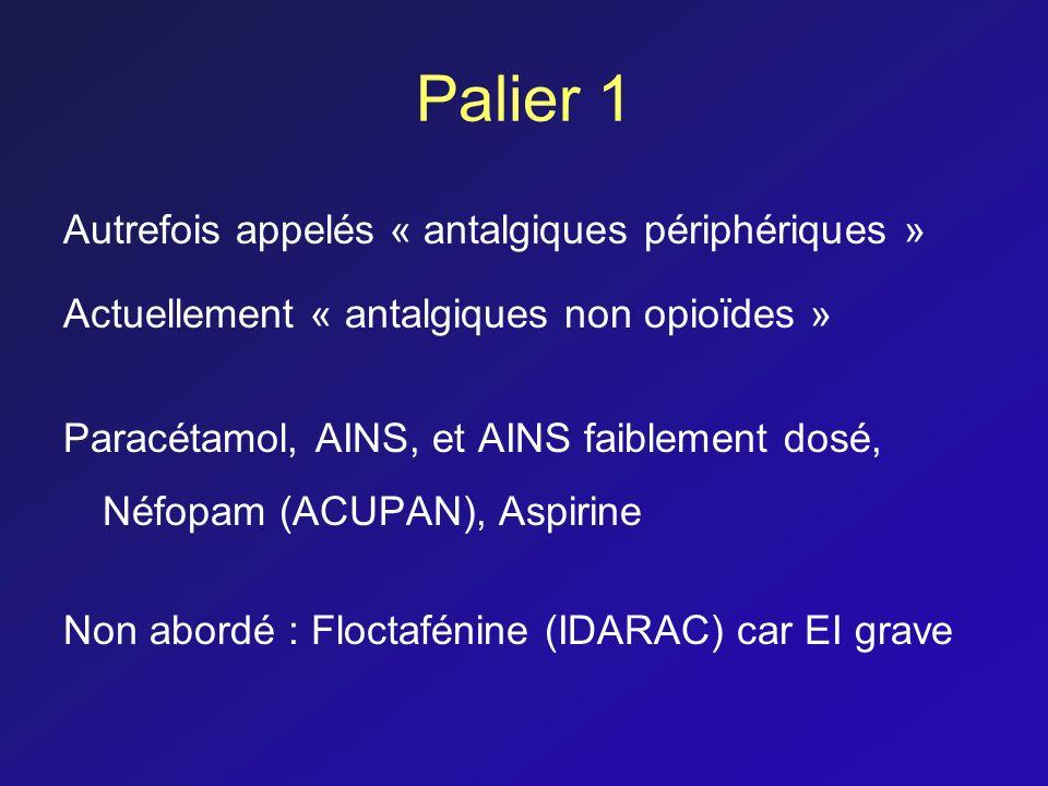 Palier 1 Autrefois appelés « antalgiques périphériques »