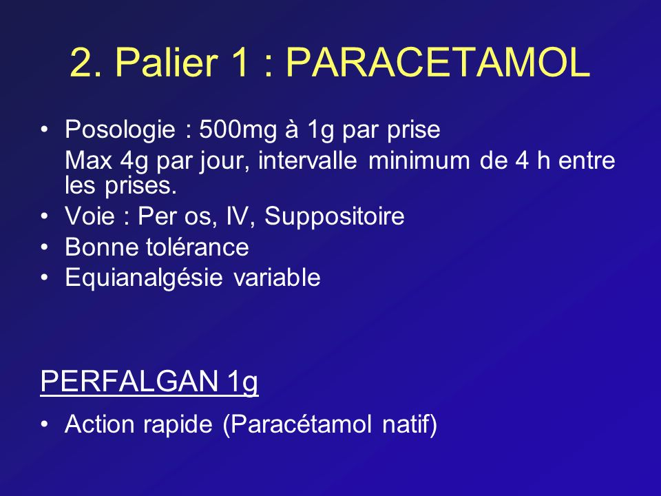 2. Palier 1 : PARACETAMOL PERFALGAN 1g