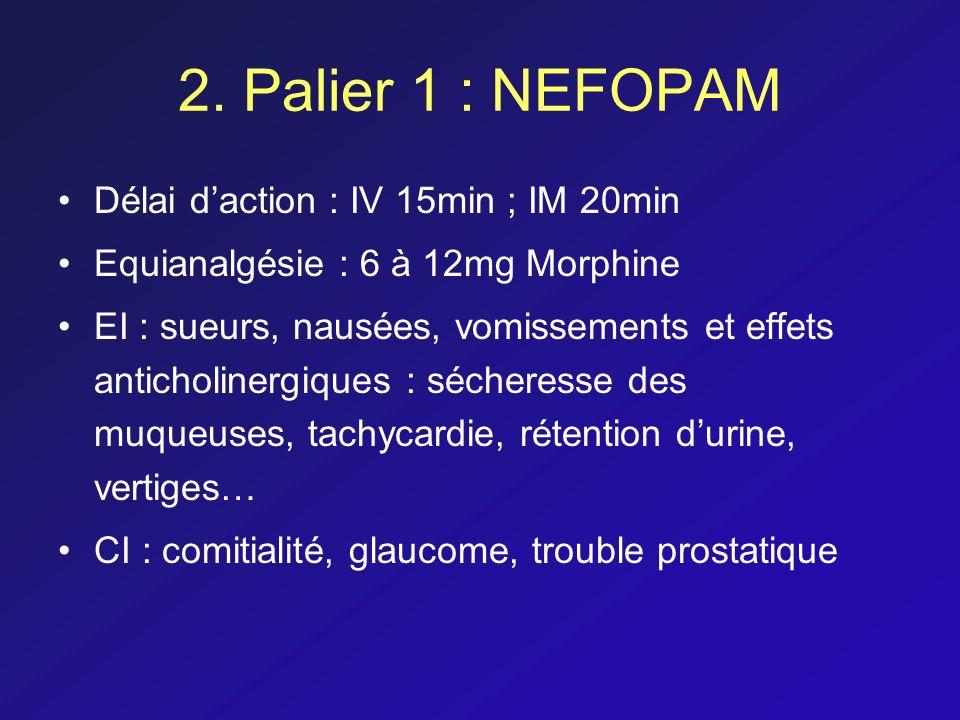 2. Palier 1 : NEFOPAM Délai d'action : IV 15min ; IM 20min